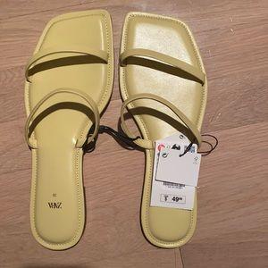 ZARA NWT yellow square toe shoes
